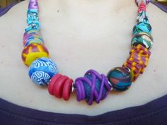 Polymer Clay Jewelry, Crochet Necklace, Fimo, Crochet Collar