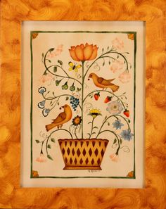 True American Folk Art by Nancy Rosier. Birds in flower branch housed in a basket container. Looks like Fraktur Folk Art Flowers, Flower Art, Flower Branch, Butterfly Flowers, Primitive Folk Art, Primitive Snowmen, Primitive Crafts, Primitive Christmas, Country Christmas