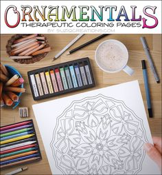 Coloring pages for grown ups :)  Blooms and Bows Coloring Page OrnaMENTALs 0007 by CreationsBySuziQ  #coloring #pages #craft