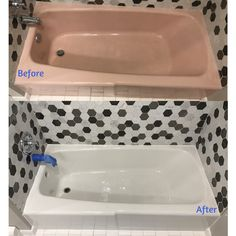 This utterly outdated bathtub and tile surround got a Kohler White ...