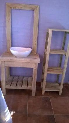 vanitorys mueble baño para bacha. madera tratada. Bathroom Vanity Makeover, Rustic Bathrooms, Wood Furniture, Basin, Home Improvement, Shelves, Interior, House, Home Decor