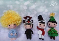 Amigurumis navidad Christmas amigurmi Christmas Tree Pattern, Christmas Ornaments, Holiday Crochet, Amigurumi Doll, Crochet Projects, Crochet Patterns, Crochet Hats, Snoopy, Holiday Decor