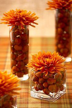 simple centro de mesa para la decoración de otoño