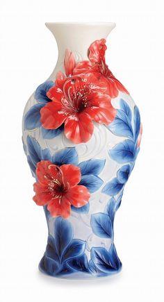 Azalea flower design L vase by Franz Porcelain Exclusive of our store Porcelain Vase, Ceramic Vase, Fine Porcelain, Paper Vase, Wooden Vase, Ceramic Painting, China Painting, Pottery Vase, Vases Decor