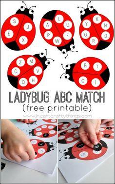 Ladybug Alphabet Match Activity (with free printable) | I Heart Crafty Things