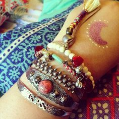 Stone Cuff Double Set style pic on Free People. -  The multiple bracelets is so my style. @Free People  #bohemian #jewelry