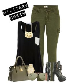 """""""Style Your Military Green"""" by stefaniekmasters on Polyvore featuring Mother, Luichiny, Solid & Striped, Miu Miu, Michael Kors, Ray-Ban, NARS Cosmetics, RayBans, Tank and ankleboots"""
