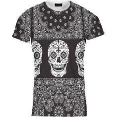Camiseta-Hombre-Estampado-De-Cachemira-Franja-Calavera-Diseno-Negro