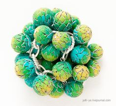Very cool polymer clay--  new take on watercolor torn beads