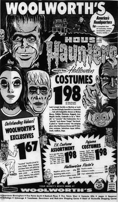 Vintage Woolworth's Halloween Ad! Retro Halloween, Halloween Fotos, Vintage Halloween Images, Vintage Halloween Decorations, Halloween Pictures, Halloween Horror, Vintage Holiday, Holidays Halloween, Halloween Crafts