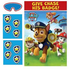 "See if the kids can help give Chase his badge with this PAW Patrol Party Game! The game includes 1 board that measures 37.5"""" x 24.5"""", 8 badge stickers and 1 blindfold.Includes (1) PAW Patrol Party G"