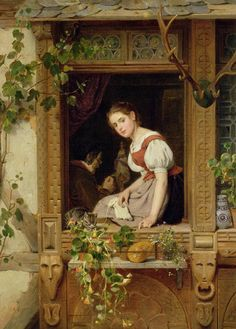 Dreaming on the windowsill, August Friedrich Siegert. Germany (1820-1883).  So lovely and inviting.