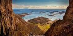 Torghatten - Brønnøysund, Helgeland in Norway. View from the famous hole in Torghatten. Hurtigruten is passing slowly in the horizon. Lofoten Islands Norway, North Sea, Timeline Photos, Ancestry, Sweden, Scandinavian, Scotland, Street Art, Landscapes