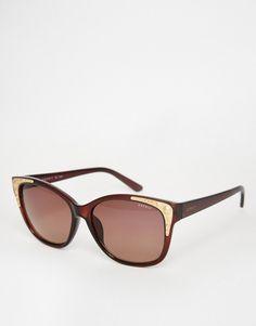 Image 1 ofEsprit Cat Eye Gold Trim Sunglasses