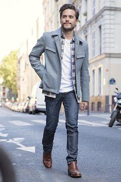 Blouson gris pour homme en pure laine française