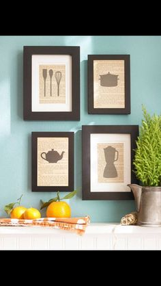 Striking yet simple kitchen themed silhouettes *could be done for any room
