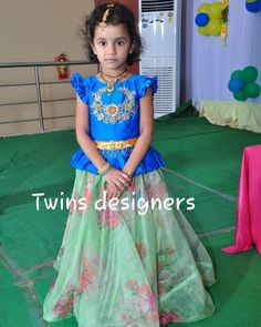 Image may contain: 1 person, standing and text Girls Frock Design, Baby Dress Design, Kids Frocks Design, Kids Lehanga Design, Kids Dress Wear, Kids Gown, Kids Blouse Designs, Bridal Blouse Designs, Frocks For Girls