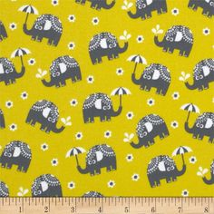 Michael Miller Pastel Pop Citron Gray Flannel Water for Elephants Citron from @fabricdotcom  From Michael Miller, this soft double napped (brushed on both sides) flannel cotton print is perfect for quilting, apparel and home decor accents.  Colors include white, citron and grey.
