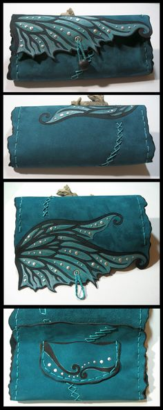 Fairy wing leather pouch by morgenland.deviantart.com on @deviantART