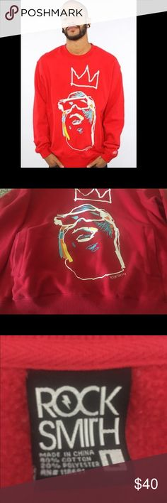 Rock Smith Biggie Smalls Crewneck with Pockets Super comfy, red Biggie Smalls tribute crew neck. Size Large. No stains, holes, or signs of wear. Rock Smith Shirts Sweatshirts & Hoodies