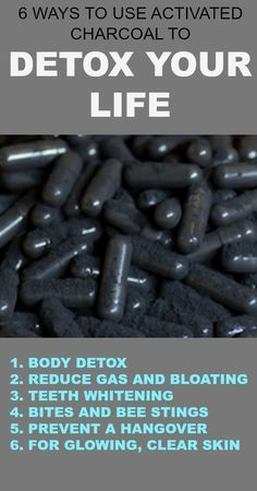 6 Ways to Use Activated Charcoal to Detox Your Life : Activated charcoal can be used at home for things daily detox, digestive issues, whitening teeth, brightening the skin, and more. #Skinwhiteningproducts