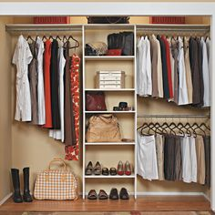 Features:  -All three of the rods can be placed on one side of the organizer.  -Cannot add additional shelves to the shelving tower..  -Adjustable rods: Yes.  Product Type: -Closet System.  Finish: -W