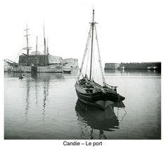 Το ενετικό λιμάνι του Ηρακλείου, περίπου 1900. 1900 περίπου. Φωτογραφικό Αρχείο του συνταγματάρχη Émile Honoré Destelle. Δημοσίευση Ελένης Σημαντήρη. Heraklion, Crete, Sailing Ships, Boat, Places, Image, Walls, Pictures, Dinghy