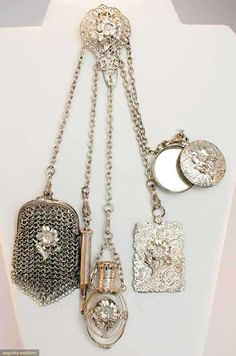 Silver Chatelaine: purse, pencil, perfume vial, notecard mirror, 1850-1890