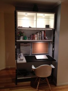 Ikea shelving into tall desk: http://www.pinterest.com/pin/create/extension/?url=http%3A%2F%2Fwww.ikeahackers.net%2F2014%2F07%2Fgeorge-ikea-nelson-css-shelving-single-series.html&media=http%3A%2F%2F351685206.r.lightningbase-cdn.com%2Fwp-content%2Fuploads%2F2014%2F07%2Fnelson-shelving1-550x733.jpg&xm=h&xv=cr1.35&description=nelson%20shelving1