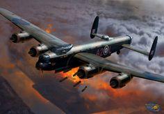 Lataa kuva Avro 683 Lancaster, Brittiläinen raskas pommikone, Royal Air Force, World War II, Maailman ilma Ww2 Aircraft, Military Aircraft, Fighter Pilot, Fighter Jets, Lancaster Bomber, War Thunder, Ww2 Planes, Royal Air Force, Aviation Art