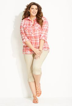 Mad for Plaid | Plus Size Outfits | Avenue cute.  like the colors in the plaid and color combo with the tan capris