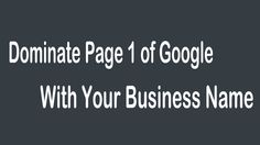 The most #important thing when it comes to #Internet #marketing is to #dominate the entire #first page of #Google #search.