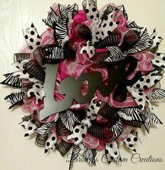 Pink White Valentines Day Wreath; February Wreath; Pink White Deco Mesh Wreath with Zebra Print; Love Wreath
