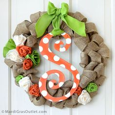 Orange Polka Dot Metal Letters are durable and light weight, hand from wreaths, as a garden flag, or use in your holiday decor!