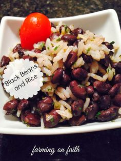 Black Beans and Rice Recipe~ - Farming On Faith* I used cilantro instead of parsley. It was delicious. Have you noticed we've been eating lots of black beans? We've fallen in love with them and also lost some weight while eating more beans and less bread and meat.