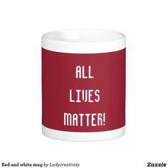 Red and white mug