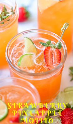 Strawberry Pineapple Mojito - A fun, sweet tropical twist to everyone's favorite cocktail! And you can easily transform this to a non-alcoholic drink! Perfect for Mothers Day, Easter or a Birthday Mojito Drink, Mojito Cocktail, Triple Sec, Summer Drinks, Fun Drinks, Strawberry Drink Recipes, Pineapple Mojito, Mint Mojito, Margaritas