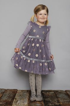 Gorgeous gold spotty lilac party dress for Christmas girls dressing from Mini a Ture