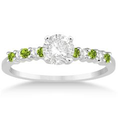 Petite Diamond & Peridot Engagement Ring 14k White Gold (0.15ct) -Allurez.com