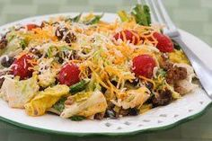 Yum! This taco salad sounds great! And I have everything here already for it :) I love that it includes a recipe for a ground beef/black bean mixture, flavored, and ready to be heated up anytime for a great salad!