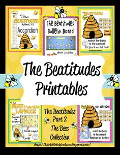 Bible Fun For Kids: The Beatitudes: Bee-Attitudes Bulletin Board & More! Kids Sunday School Lessons, Sunday School Crafts For Kids, Bible School Crafts, Sunday School Activities, Preschool Bible, School Ideas, Bible Study For Kids, Bible Lessons For Kids, Beattitudes For Kids