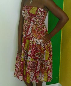 Red, Lime, & White Flower Strapless Dress Also Can Be Worn As A Skirt $26