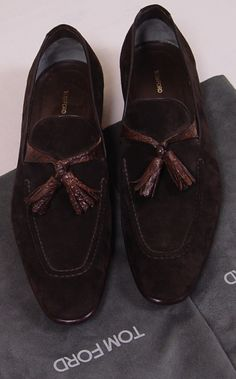 Tom Ford Shoes | TOM FORD SHOES $2575 DARK BROWN SUEDE/CROCODILE SKIN HANDMADE LOAFER 9