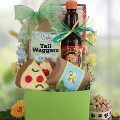 photos of gift baskets for your pets | home pet gift baskets dog gift baskets happy tails dog gift