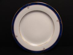 "Sapphire by Nikko 6-1/2"" Bread & Butter Plate Blue Marble Band Gold Bands S136"