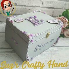 Buy Personalised Girls Medium Memory Box Time capsule, Trinket FREE UK P&P. Handmade gifts crafted by disabled entrepreneurs and carers Wedding Keepsake Boxes, Baby Keepsake, Memories Box, Baby Memories, Time Capsule Kids, Diy Trinket Box, Decorative Wooden Boxes, Wooden Memory Box, Painting Wooden Letters