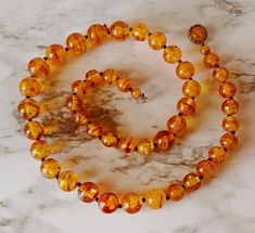 "Vintage 27"" Translucent Amber Lucite Honey Rootbeer Swirl Chunky Bead Necklace #StrandString"