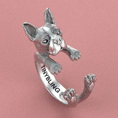 This unique Boston Terrier Ring was created and designed by Steph Alexis. This amazing Boston Terrier ring is made of 925 sterling silver and has a lightly hand burnished oxidized finish which really sets off his cute features and ears. This little guy has excellent detail, you can see all