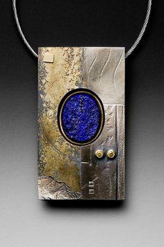 Necklace | Roger Rimel.  Sterling silver, 14k gold, fused gold, lapis, sapphires