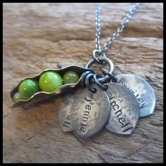 Sweet Peas Rustic Silver Peapod Name Charm Necklace